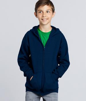 GILDAN Classic Fit Youth Full Zip Hooded Sweatshirt