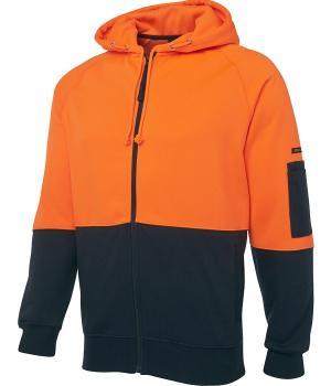 JB's Wear Hi Vis Full Zip Fleecy Hoodie